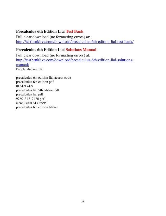 Precalculus 6th edition lial test bank