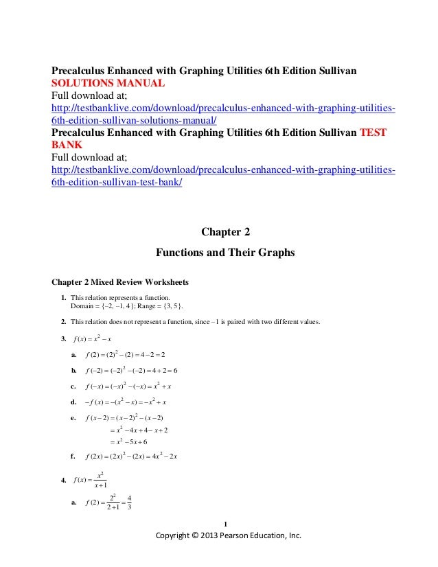 Precalculus enhanced with graphing utilities 6th edition sullivan sol – Precalculus Review Worksheets