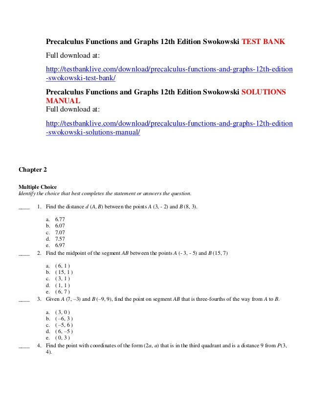 Precalculus functions and graphs 12th edition swokowski test bank