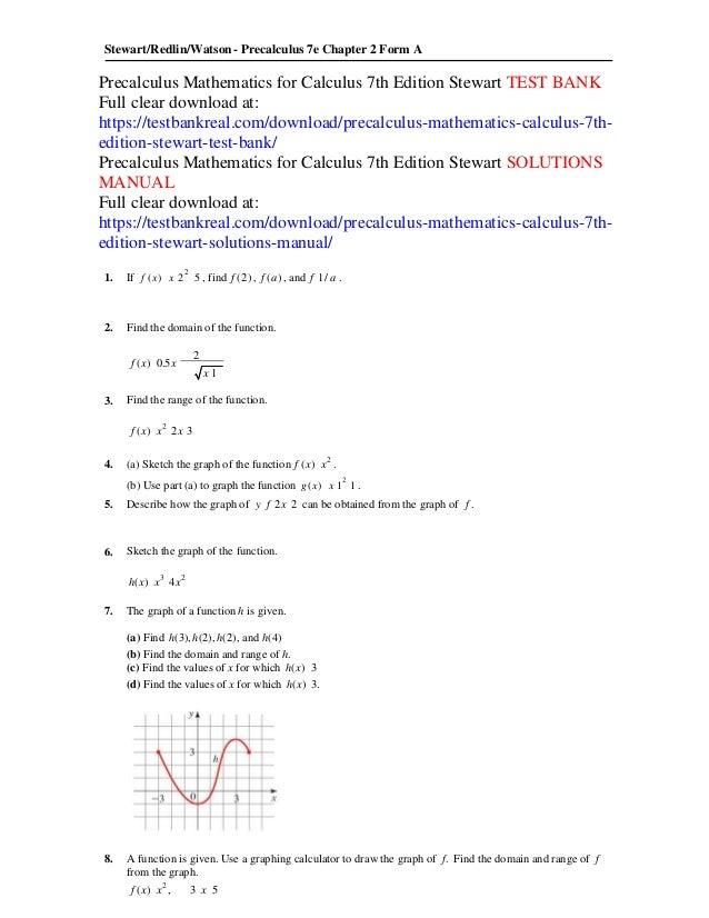 Precalculus mathematics for calculus 7th edition stewart