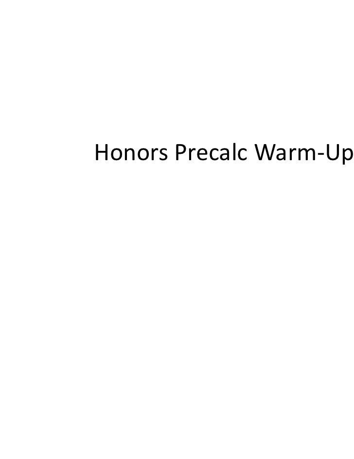 Honors Precalc Warm-Ups