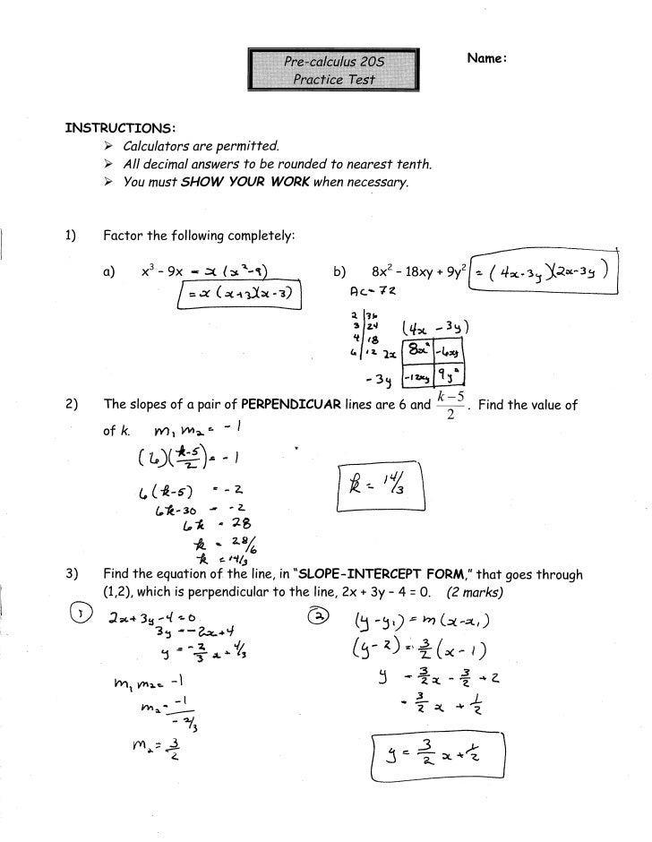 Precal practice test answer key