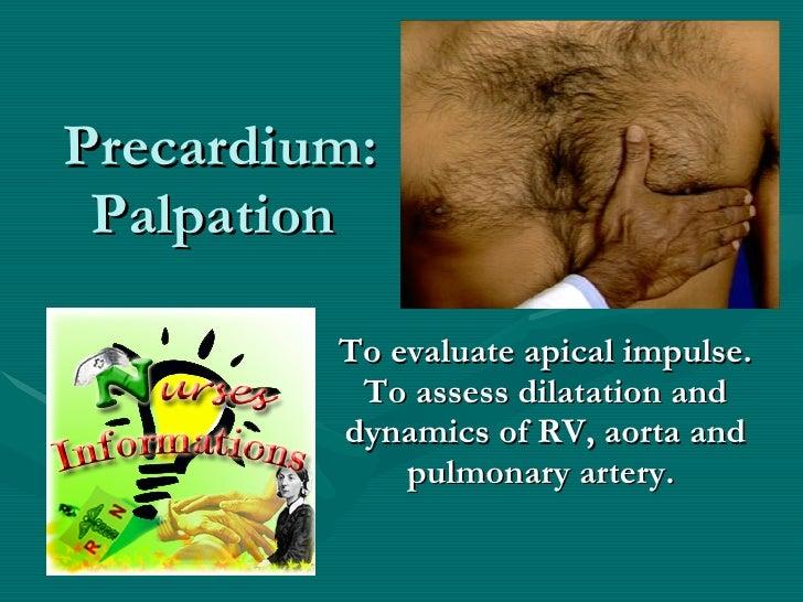 Precardium: Palpation  To evaluate apical impulse. To assess dilatation and dynamics of RV, aorta and pulmonary artery.
