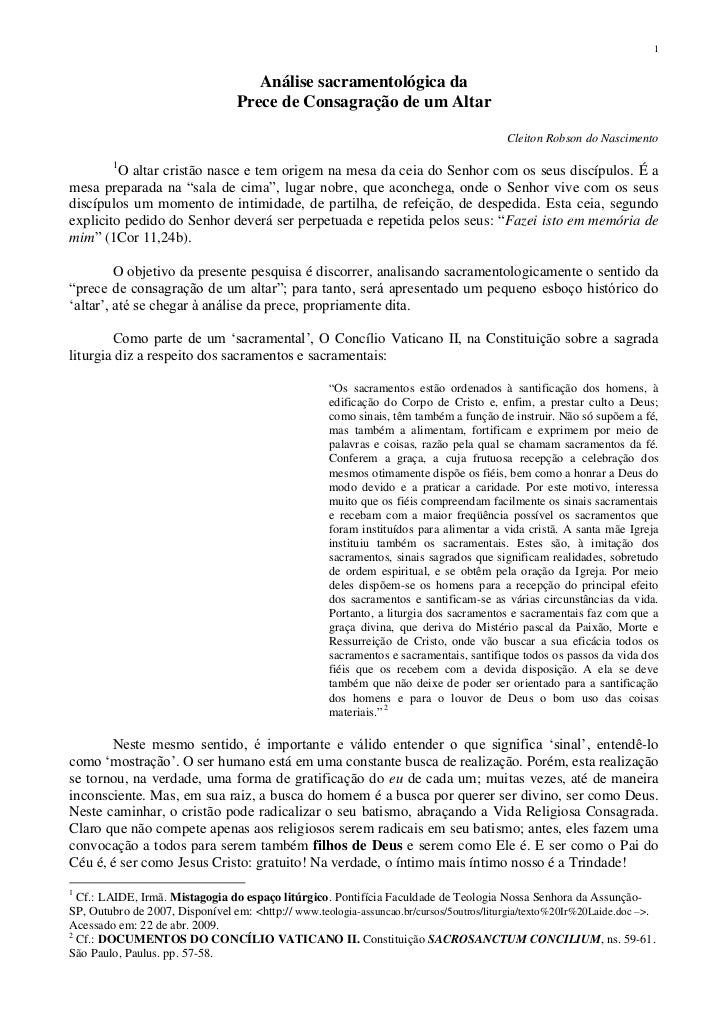 Análise sacramentológica da <br />Prece de Consagração de um Altar<br />Cleiton Robson do Nascimento<br />O altar cristão ...
