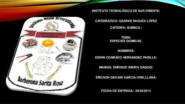 INSTITUTO TECNOLÓGICO DE SUR ORIENTE: CATEDRATICO: GASPAR RAGUEX LÓPEZ CATEDRA: QUIMICA : TEMA: ESPECIES QUIMICAS. NOMBRES...