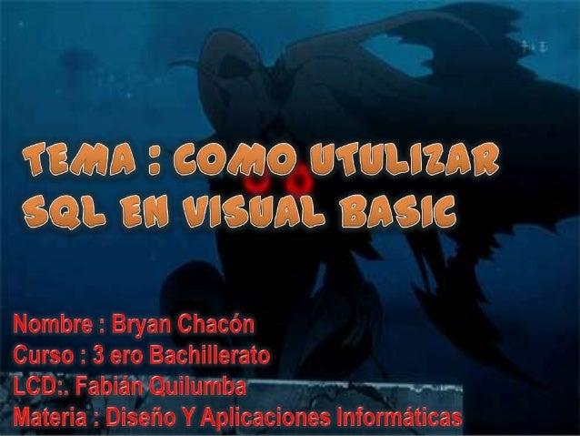 Visual Basic es un lenguaje de programación dirigido por eventos,desarrollado por Alan Cooper para Microsoft. Este lenguaj...