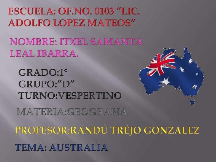 Aquí en esta presentación de pawer point hablare sobe Australia hablare sobresu hidrografía; que puede ser el gran Pozo Ar...