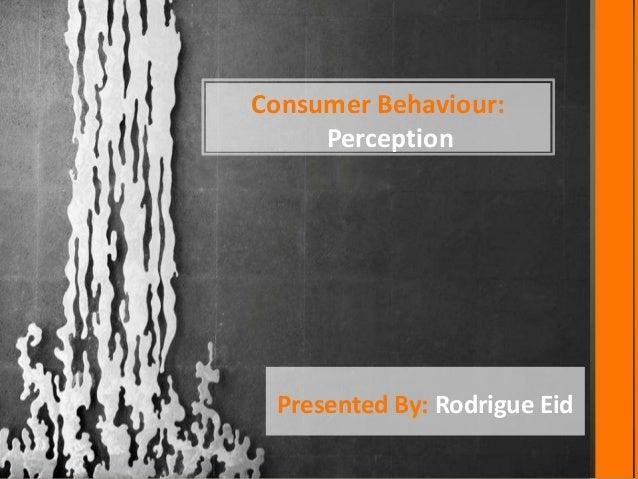 Consumer Behaviour:     Perception Presented By: Rodrigue Eid
