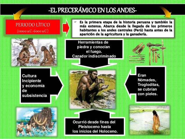 -EL PRECERÁMICOEN LOS ANDES-  Es la primera etapa de la historia peruana y también la más extensa. Abarca desde la llegad...