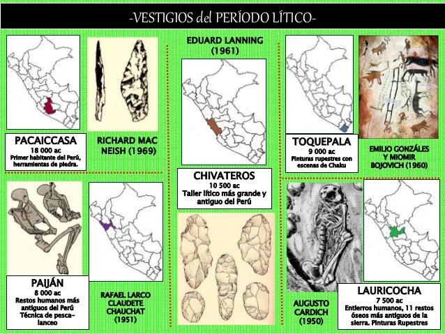 -VESTIGIOS del PERÍODO LÍTICO- PACAICCASA 18 000 ac Primer habitante del Perú, herramientas de piedra. CHIVATEROS 10 500 a...