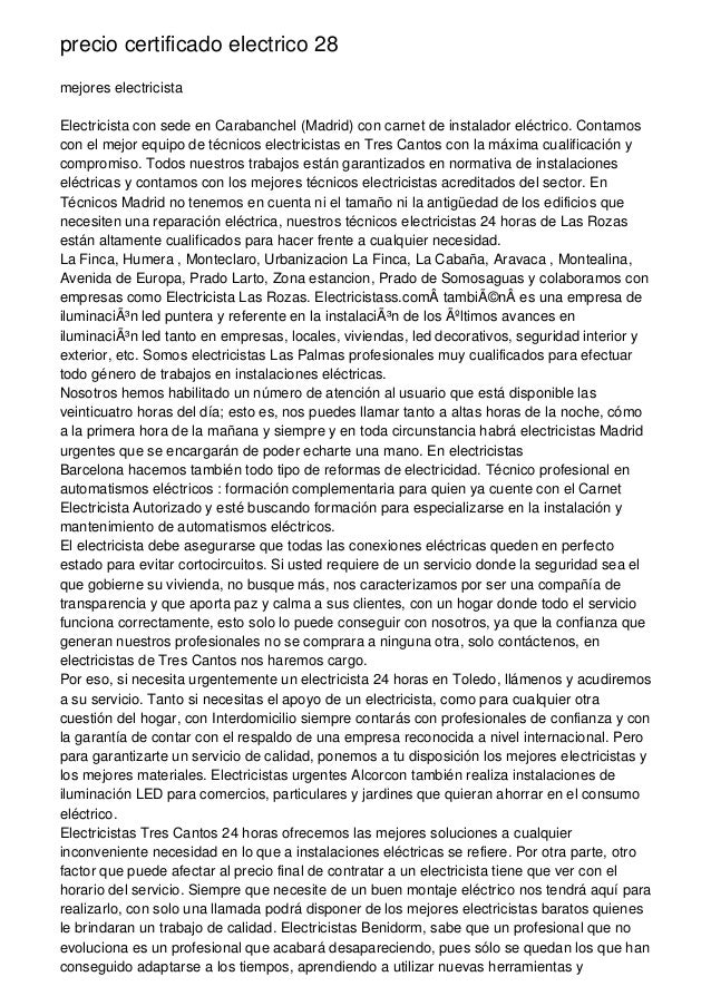 precio certificado electrico 28 mejores electricista Electricista con sede en Carabanchel (Madrid) con carnet de instalado...