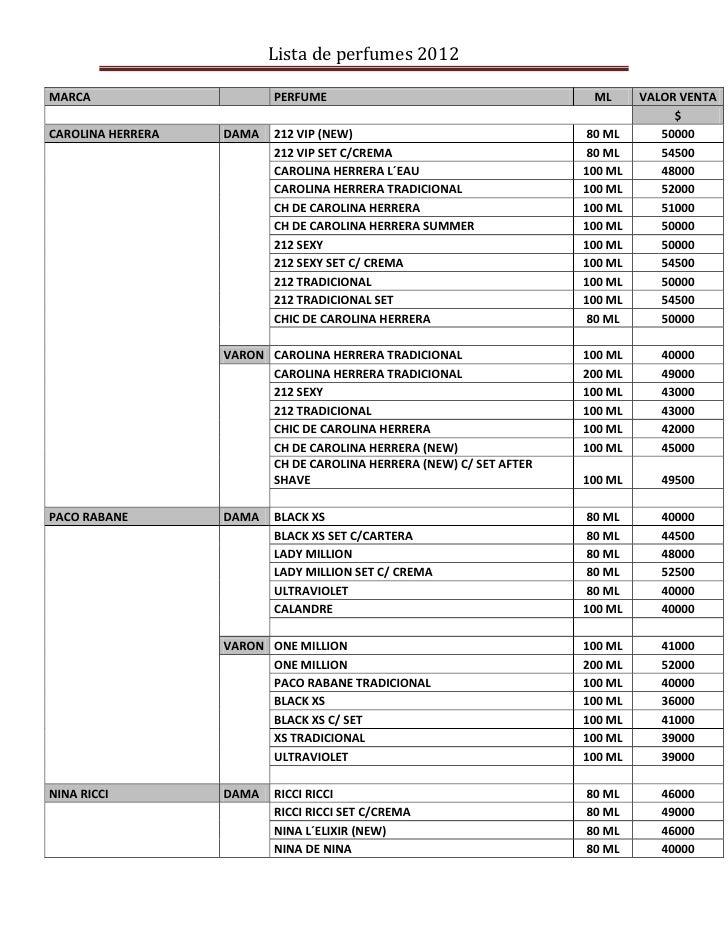 Lista de perfumes 2012MARCA                     PERFUME                                     ML      VALOR VENTA           ...