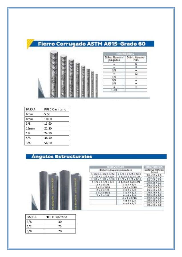 BARRA PRECIOunitario 3/8. 30 1/2. 75 5/8. 70 BARRA PRECIOunitario 6mm 5.60 8mm 10.00 3/8. 13.90 12mm 22.20 1/2. 24.90 5/8....