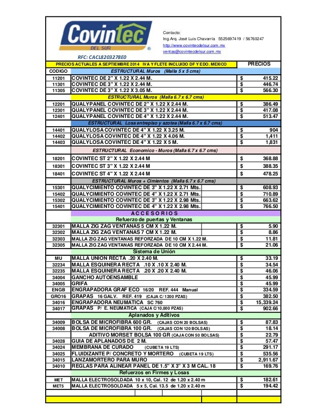 Precios productos covintec 2014 for 1 costo del garage