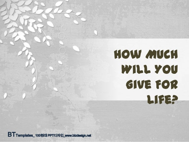 How Much Will You Give For Life? BTTemplates_ 100원대 PPT디자인_www.bizdesign.net