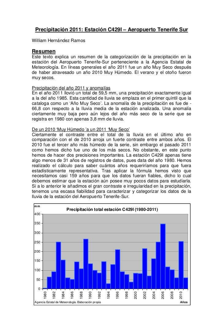 Precipitación 2011: Estación C429I – Aeropuerto Tenerife SurWilliam Hernández RamosResumenEste texto explica un resumen de...