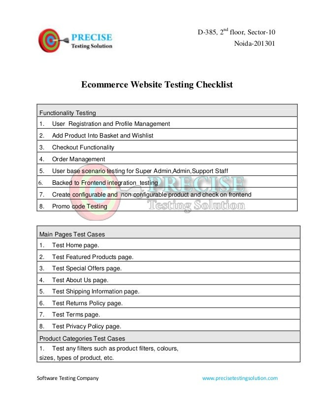 Ecommerce website testing checklist for Ecommerce privacy policy template
