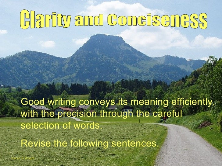 Good writing conveys its meaning efficiently,     with the precision through the careful     selection of words.     Revis...