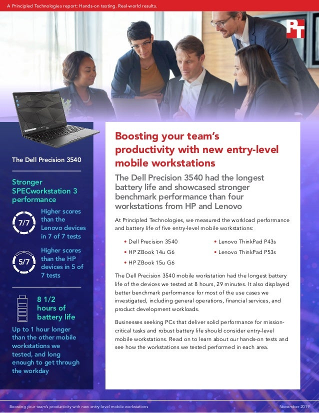 Boosting your team's productivity with new entry-level mobile workstations The Dell Precision 3540 had the longest battery...