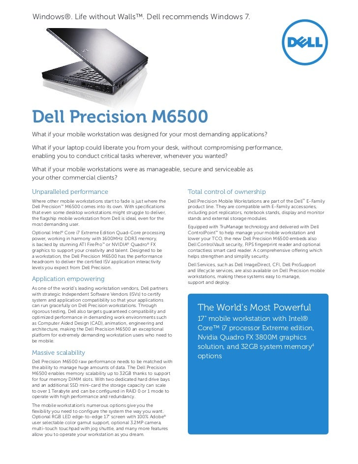 Dell Precision M6500 Notebook nVidia Quadro FX 2800/3800 ISV 64 BIT