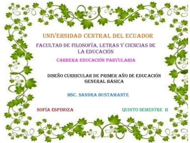 UNIVERSIDAD CENTRAL DEL ECUADOR Facultad de Filosofía, Letras y Ciencias de la Educación Carrera Educación Parvularia Dise...