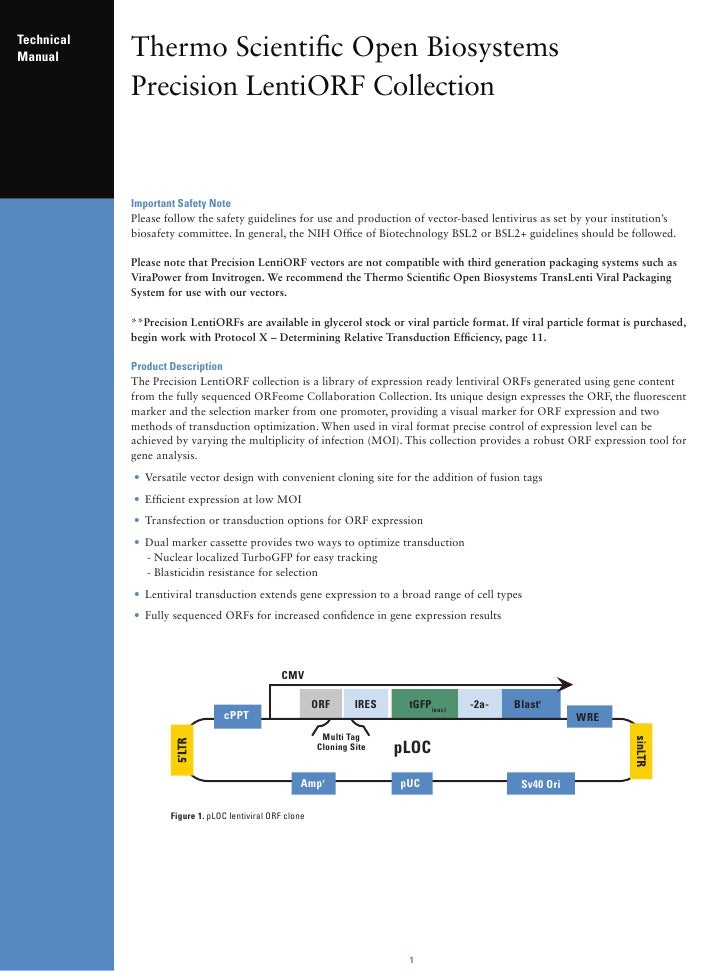 Technical Manual      Thermo Scientific Open Biosystems             Precision LentiORF Collection               Important ...