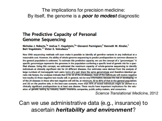 The implications for precision medicine: By itself, the genome is a poor to modest diagnostic Science Translational Medici...