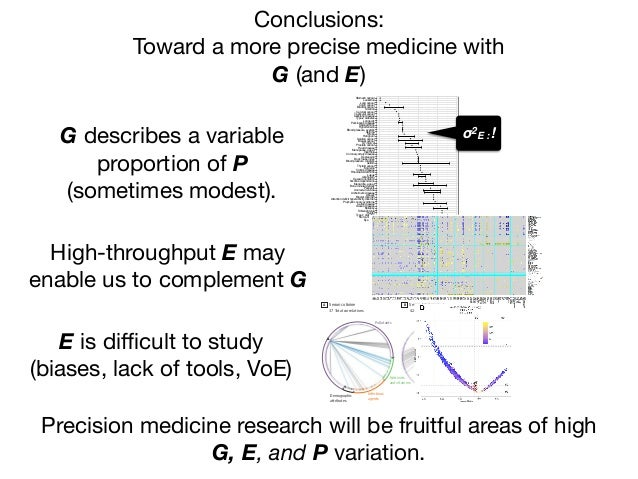 Conclusions:  Toward a more precise medicine with  G (and E) Precision medicine research will be fruitful areas of high G,...