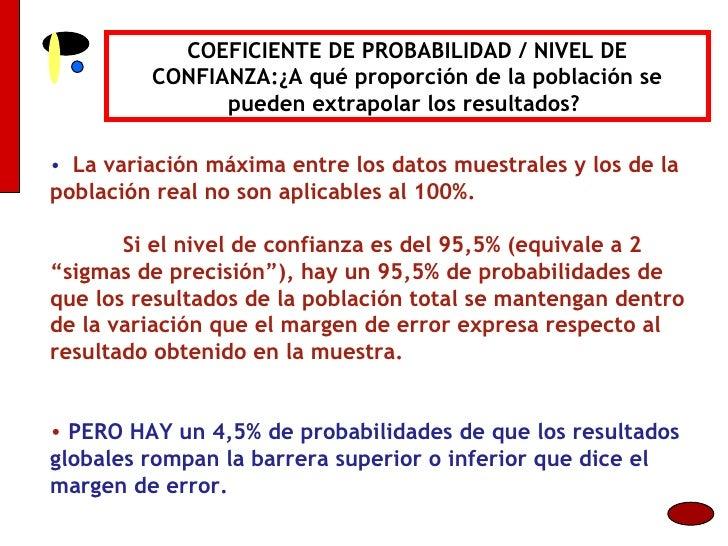 COEFICIENTE DE PROBABILIDAD / NIVEL DE CONFIANZA:¿A qué proporción de la población se pueden extrapolar los resultados?  <...