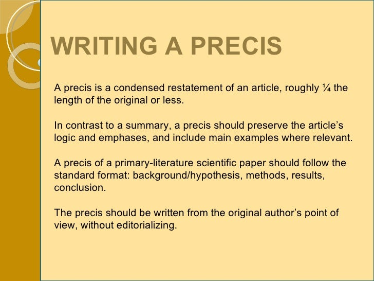 sample precis writing examples Precis writing tips and examples - pdf published on friday, november 10, 2017 descriptive paper if you read the above example closely.