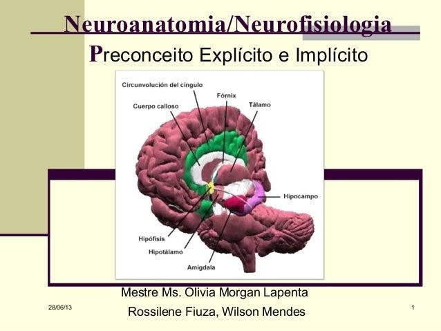 28/06/13 1 Mestre Ms. Olivia Morgan Lapenta Rossilene Fiuza, Wilson Mendes Neuroanatomia/Neurofisiologia Preconceito Explí...