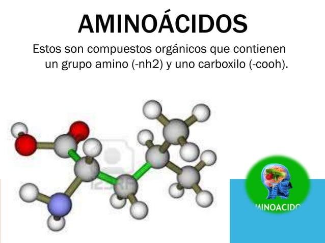 AMINOÁCIDOS Estos son compuestos orgánicos que contienen un grupo amino (-nh2) y uno carboxilo (-cooh).