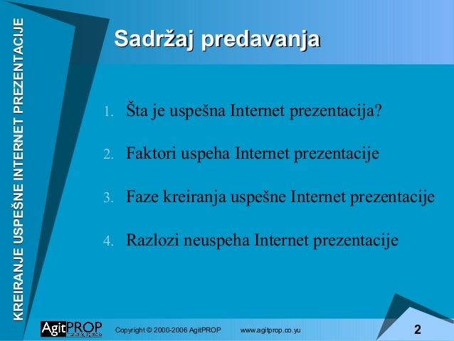 Kreiranje uspešne internet prezentacije Slide 2