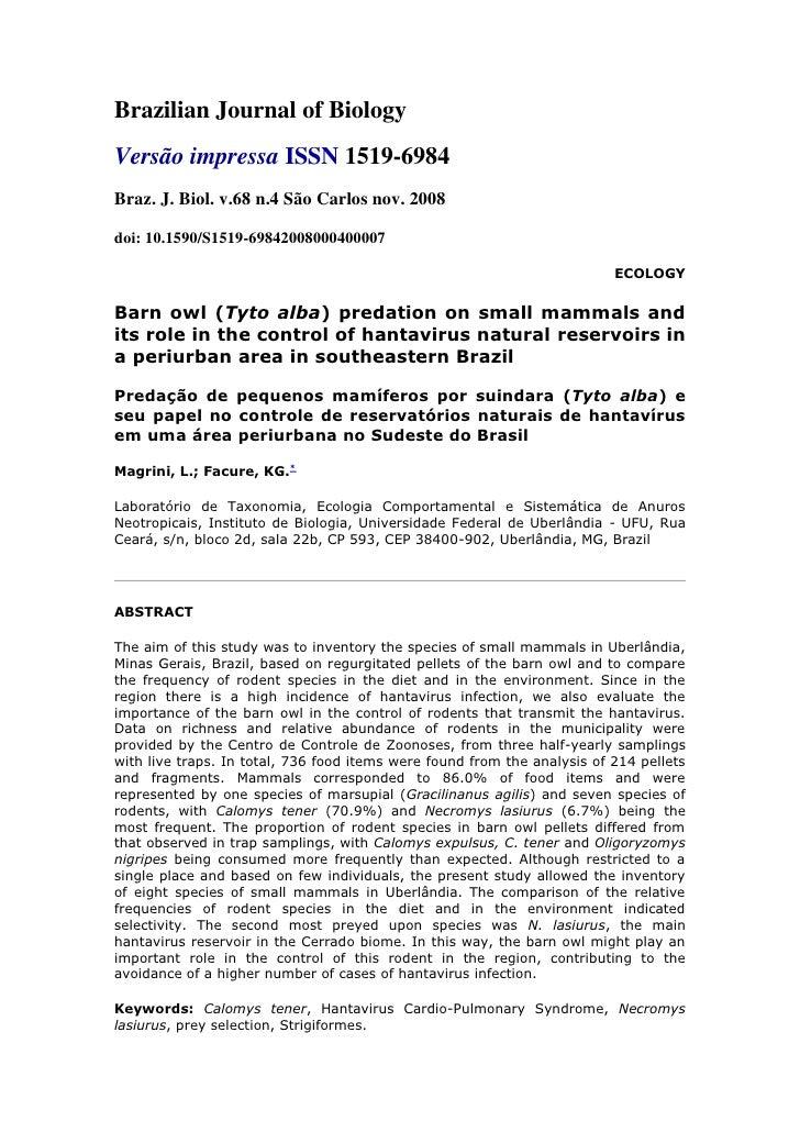 Brazilian Journal of Biology<br />Versão impressa ISSN 1519-6984<br />Braz. J. Biol. v.68 n.4 São Carlos nov. 2008<br />do...