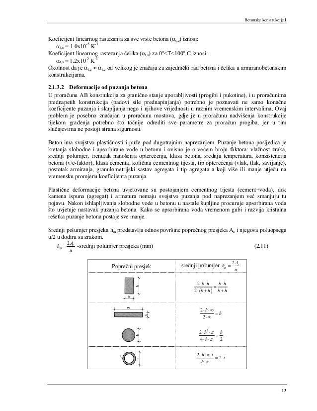 Betonske konstrukcije I 13 Koeficijent linearnog rastezanja za sve vrste betona (αt,c) iznosi: αt,c = 1.0x10-5 K-1 Koefici...