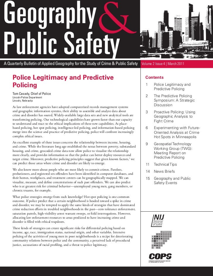 GeographyPublic SafetyA Quarterly Bulletin of Applied Geography for the Study of Crime & Public Safety Volume 2 Issue 4 | ...