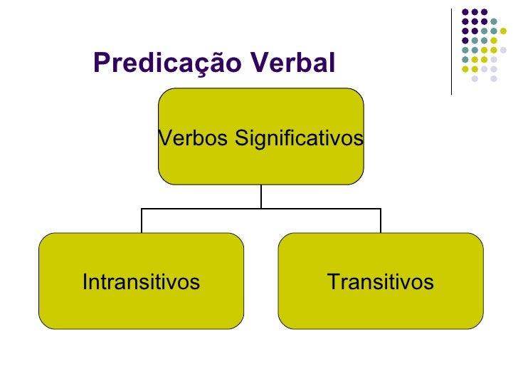 Predicação Verbal Verbos Significativos Intransitivos Transitivos