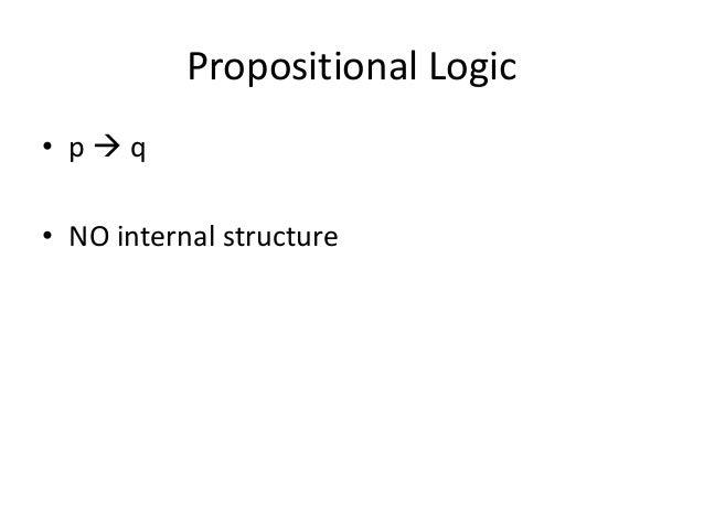 Propositional Logic • p  q • NO internal structure