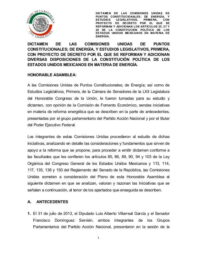 DICTAMEN DE LAS COMISIONES UNIDAS DE PUNTOS CONSTITUCIONALES; DE ENERGÍA, Y ESTUDIOS LEGISLATIVOS, PRIMERA, CON PROYECTO D...