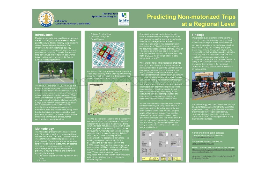 Poster Session B - Predicting non motorized trips at a regional level PWPB