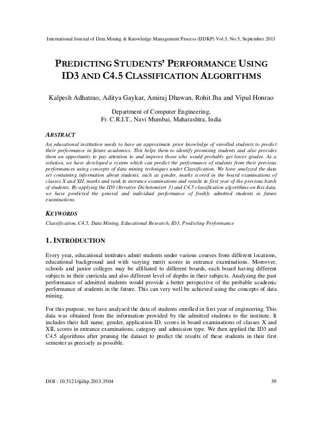International Journal of Data Mining & Knowledge Management Process (IJDKP) Vol.3, No.5, September 2013 DOI : 10.5121/ijdk...