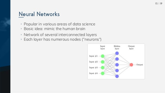  1915 ›› Popular in various areas of data science ›› Basic idea: mimic the human brain ›› Network of several interconnecte...
