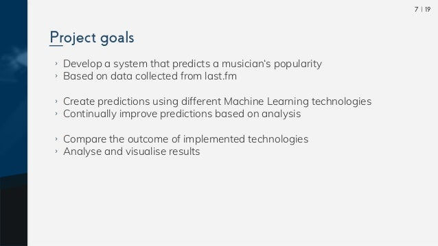  197 ›› Develop a system that predicts a musician's popularity ›› Based on data collected from last.fm ›› Create predictio...