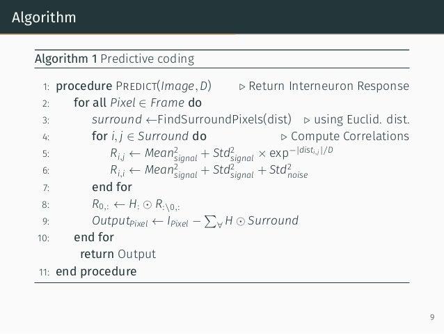 Algorithm Algorithm 1 Predictive coding 1: procedure Predict(Image, D) ▷ Return Interneuron Response 2: for all Pixel ∈ Fr...