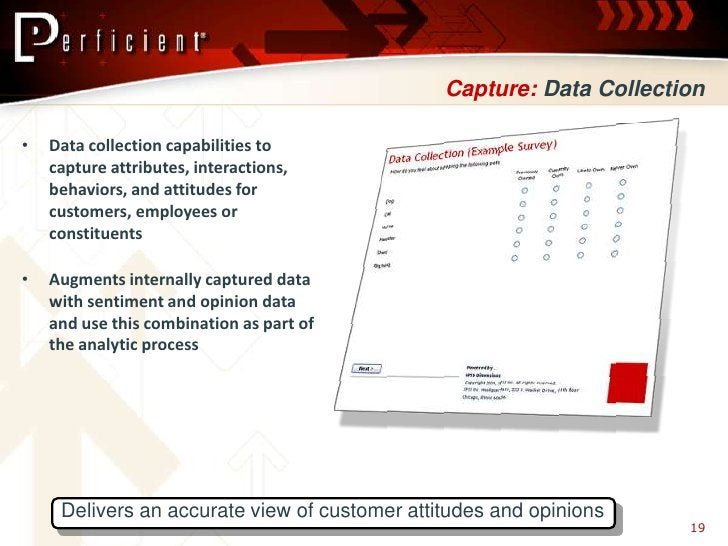 Capture: Data Collection  •   Data collection capabilities to     capture attributes, interactions,     behaviors, and att...