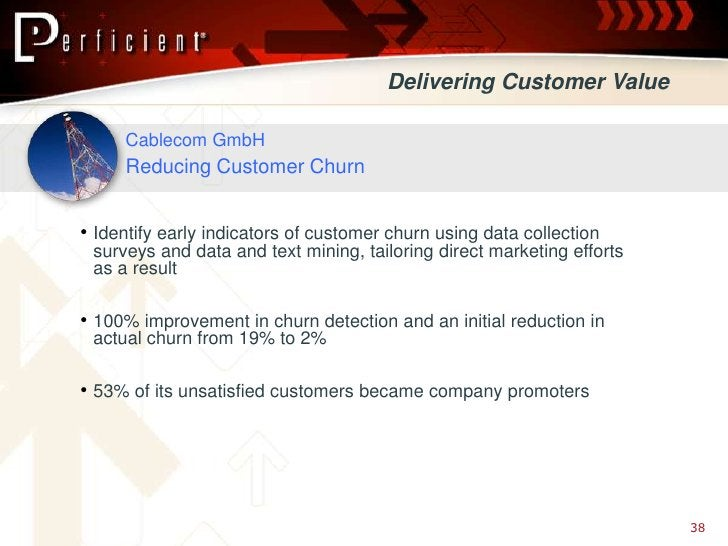 Delivering Customer Value       Cablecom GmbH      Reducing Customer Churn   • Identify early indicators of customer churn...