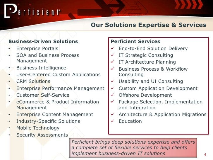 Our Solutions Expertise & Services  Business-Driven Solutions              Perficient Services • Enterprise Portals       ...