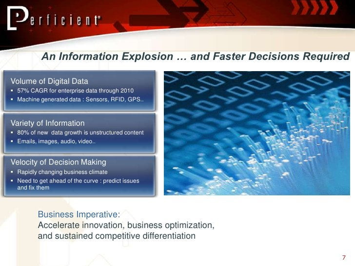 An Information Explosion … and Faster Decisions Required  Volume of Digital Data  57% CAGR for enterprise data through 20...