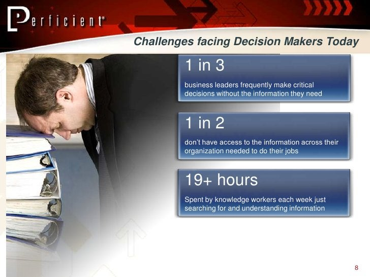 Challenges facing Decision Makers Today          1 in 3         business leaders frequently make critical         decision...