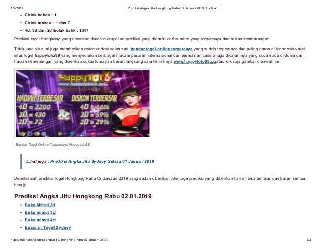 Prediksi angka jitu hongkong rabu 02 januari 2019 hk rabu